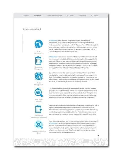 IoT Company Profile Page 10